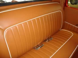 Custom leather seats - roll and pleat