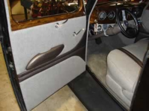 Tweed and leather on the door panels