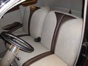 custom two tone tweed and leather seats