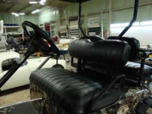 Custom golf cart seat reupholstery